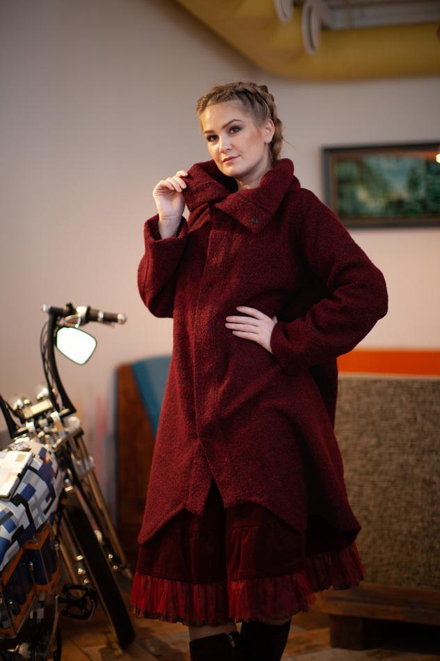 """Пальто-кардиган бордовое. Коллекция """"Игра цвета"""" №3"""