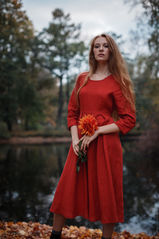 """Платье льняное кораллового цвета. Коллекция """"Ваше Лисичество"""" №18"""
