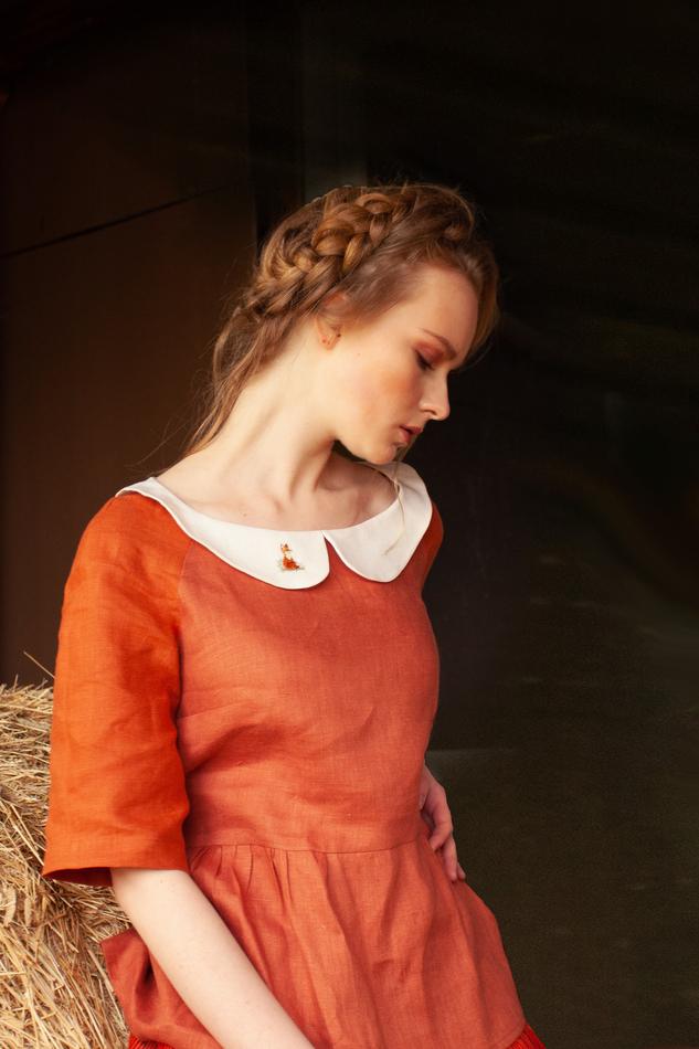 """Блуза из рыжего льна """"Лисичка"""". Коллекция """"Ваше Лисичество"""" №11"""