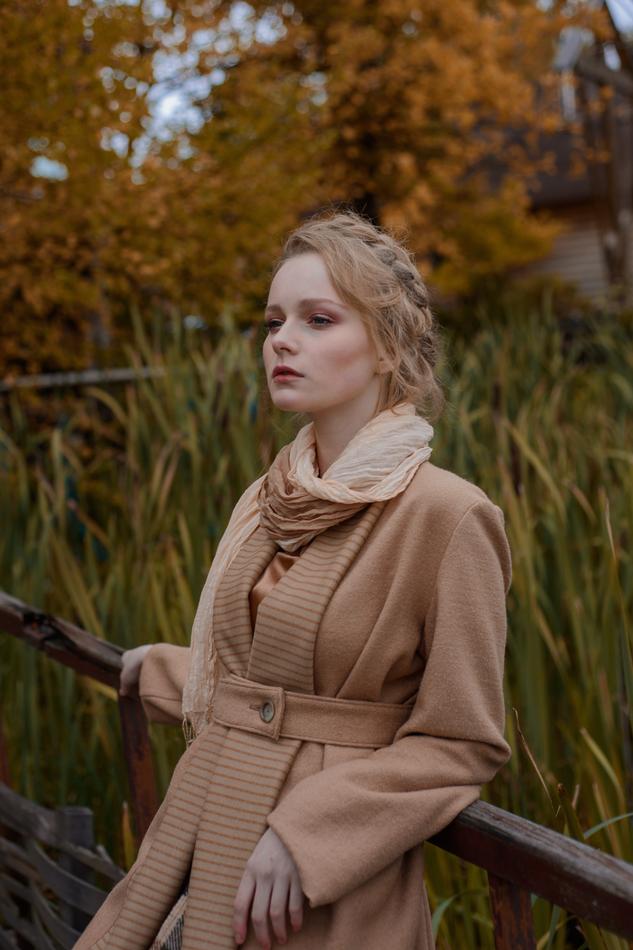 """Осеннее пальто бежевое. Коллекция """"Ваше Лисичество"""" комплект №12"""