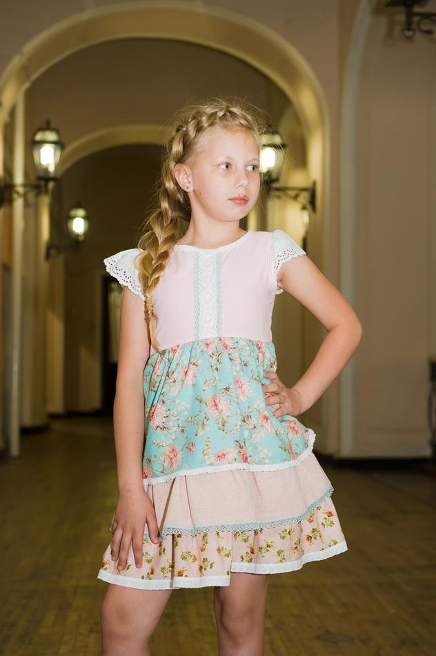 """Платье """"Юная цветочница"""" голубое. Коллекция """"Цветы жизни"""" №8"""