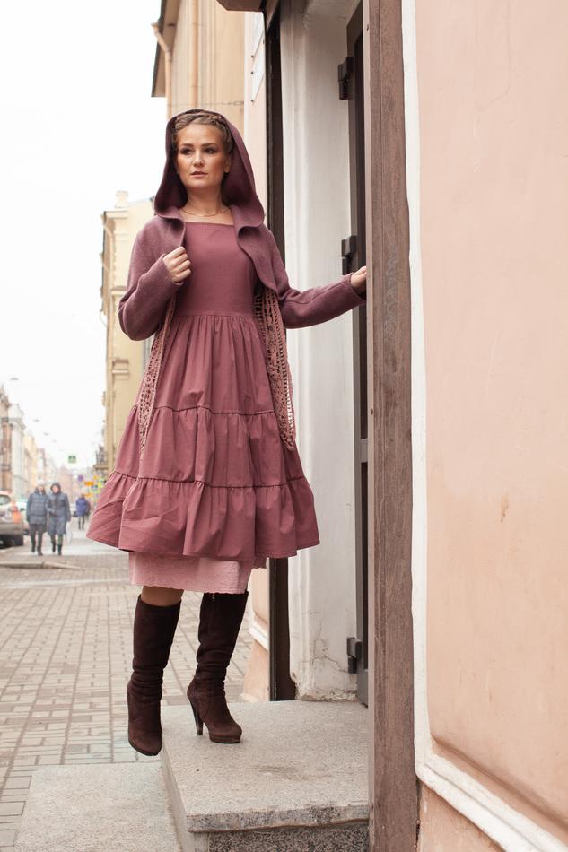 """Платье приглушенного пурпурно-розового цвета. Коллекция """"Игра цвета"""" №7"""
