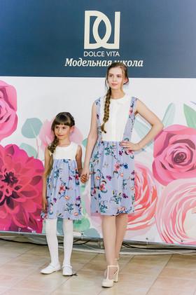 """Платья """"Полоски и цветы"""" взрослое и детское. Коллекция """"Цветы жизни"""" №4."""