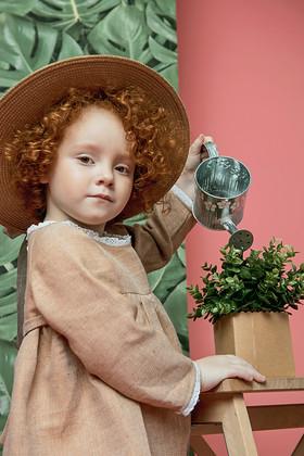 """Платье детское льняное охра. Коллекция """"Хюгге-кидс"""" № 2."""