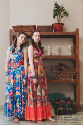 """Платье яркое с коралловой оборкой.  Коллекция """"Yesterday"""" комплект №11"""