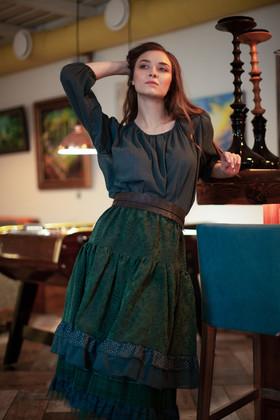 "Блузка темно-изумрудная. Коллекция ""Игра цвета"" №4"