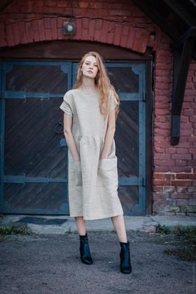 """Платье в мелкую бело-зеленую клеточку. Коллекция """"Хюгге"""" №41"""