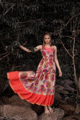 """Платье яркое с коралловой оборкой. Коллекция """"Gypsy Queen"""" комплект №11"""